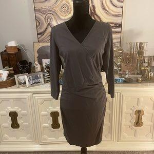 NWOT Bobi Wrap Shirred Dress, grey, size large